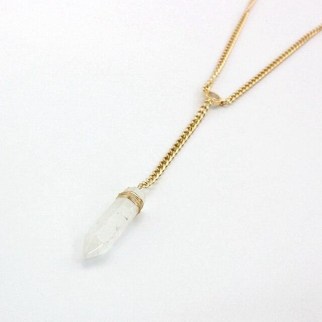 Chicvie Бохо длинное хрустальное ожерелье воротник длинный золотой
