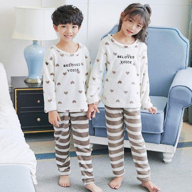 056c228614 Cute Clothing Winter Pijamas Children Warm Sleepwear Teenagers Clothes  Autumn Kids Flannel Pajama Sets Boy Cartoon Pyjamas RF45