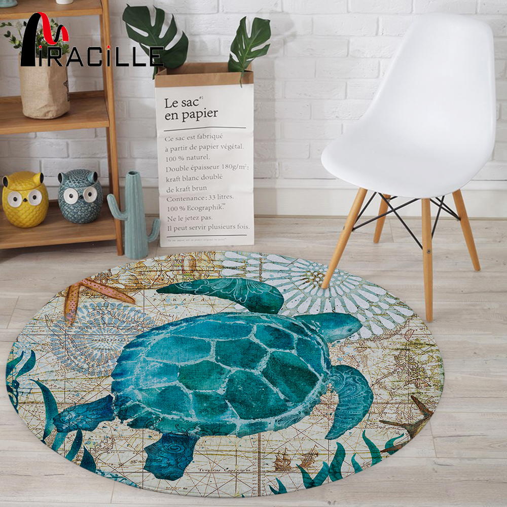 Miracille Drop Coral Velvet Computer Chair Floor Mat Sea Turtle Octopus Printed Round Carpet Children Bedroom Play Tent Area Rug