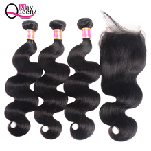 hot deal buy body wave bundles with closure 8-26 inch non-remy human hair bundles with closure brazilian hair weave bundles with closure