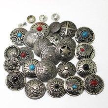 Серебристые металлические кнопки, заклепки для ногтей с украшением из бисера для кожевенного ремесла, кожаные аксессуары для шитья