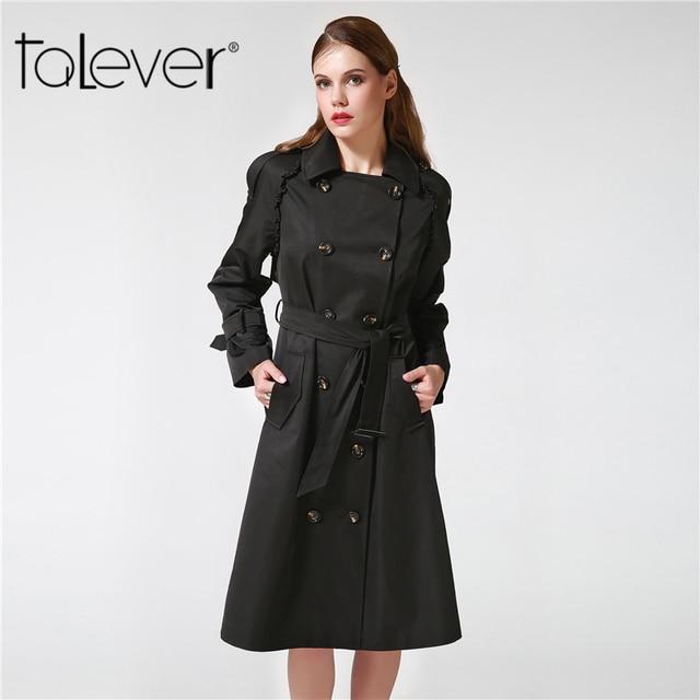 Autumn Winter Adjustable Waist Slim Solid Trench Coat for Women 3