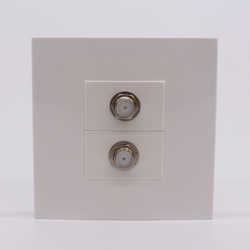 On Sale Quality Satellite TV Wall Plate Socket x 2 Digital TV Connector Television Ground Plate 86x86mm Home Used F Head