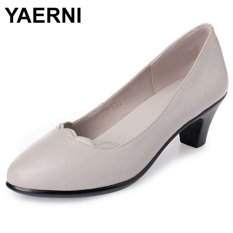 YAERNI 2018 Women's comfortable shoes 2018 new spring leather shoes dress professional work mother shoes women E540 women work dress longsleeve spring new european station grid pencil skirt fake two professional dress l13