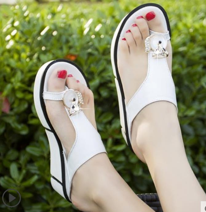 Verano azul Con Tacón 2019 Cielo De rosado Sandalias Nuevo El blanco Cuero Cuña Moda Negro azul 5wPqICSx