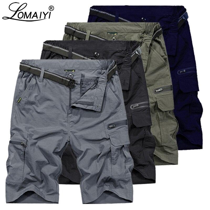 LOMAIYI Men Shorts Men's Cargo Shorts Army Green Mens Summer Travel Casual Shorts Military Style Loose Short Hombre AM369