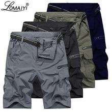 LOMAIYI גברים מכנסיים גברים של מכנסיים קצרים מטען צבא ירוק Mens קיץ נסיעות מזדמן מכנסיים צבאי סגנון Loose קצר Hombre AM369