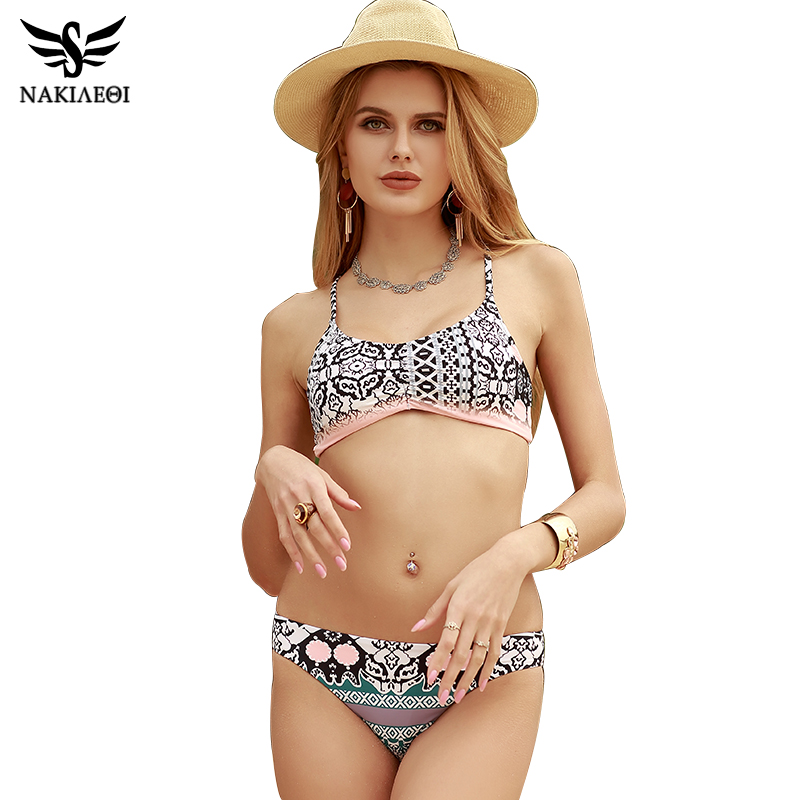 NAKIAEOI 2017 Sexy Bikinis Women Swimsuit Push Up Swimwear Female Brazilian Bikini set Bandeau Summer Beach Bathing Suit Biquini nakiaeoi 2017 sexy bikinis women swimsuit bandage halter beach wear bathing suits push up swimwear female brazilian bikini set