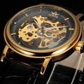 SEWOR marca de negócios de moda homens de couro masculino relógio de aço esqueleto mão mecânica vento militar sport watch presente relógio de pulso de luxo
