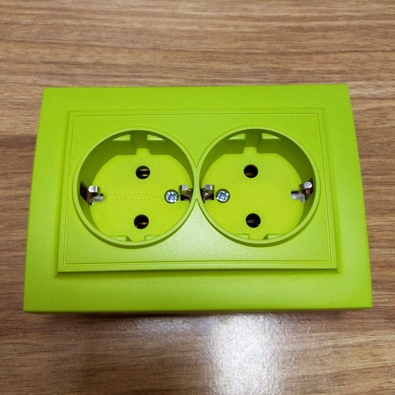 Wall socket yellow green color double Socket withearth Colorful  European  DIY Socket  16A 250V legrand Schneider livoloWall socket yellow green color double Socket withearth Colorful  European  DIY Socket  16A 250V legrand Schneider livolo
