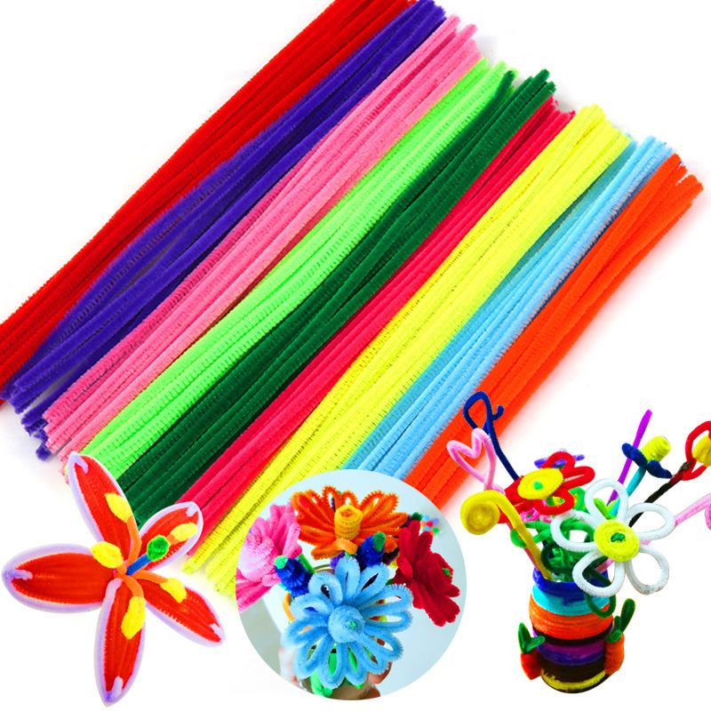 NEW 100Pcs Montessori Plush Sticks Chenille Puzzles Knutselen Kinderen Educational Craft Fun Games Pipe Cleaner Handmade DIY Toy
