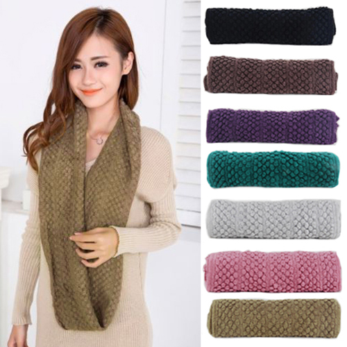 Women Girl Winter Warm Infinity 2 Circle Shawl Cable Knit Cowl Neck Long Scarf 9DXJ