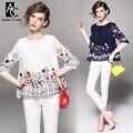 Весна лето взлетно-посадочной полосы дизайнер женские рубашки блузки белый темно-синий плиссированные груди красочный бабочка цветок вышивка топ