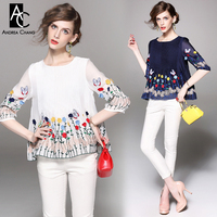 Spring Summer Runway Designer Womens Shirt Blouse White Dark Blue Pleated Chest Colorful Butterfly Flower Embroidery