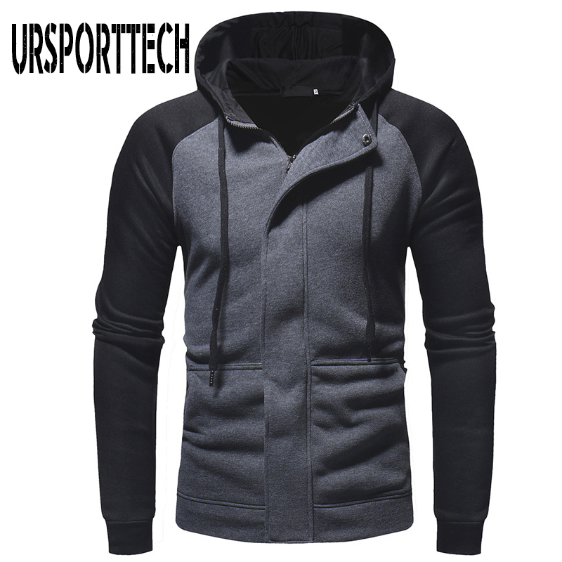URSPORTTECH Hot Zipper Hoodies Men Sportswear Casual High Quality Long Sleeve Cotton Patchwork Hoodies Mens Hooded Sweatshirts