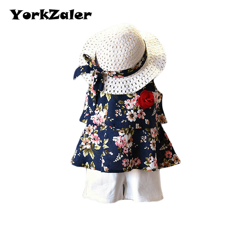 YorkZaler 3 PCS/set Girls Clothes Set Summer Sleeveless Girls Print Floral Beach Dress Sundress With Shorts Hat Kid Clothing