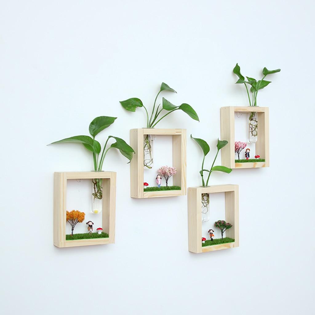 Home Decor Glass Vase Landscape Test Tube Flower Hydroponic Vase In Wood Stand Home Furniture Diy Pneumec In