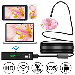 HD 1200 P Wifi kamera inspekcyjna boroskop USB IP68 wodoodporna kamera inspekcyjna z pół sztywnego  elastyczny kabel dla Smartphone bezprzewodowy endoskop|Boroskopy|   -