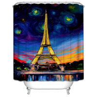 1pcs Polyester Waterproof Blue Purple Bath Curtain Unique Paris Eiffel Tower Oil Painting Pattern Shower Curtain