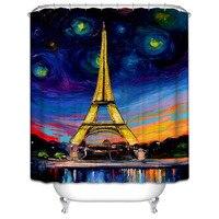 1 adet Polyester Su Geçirmez Mavi Mor Banyo Perde Benzersiz Paris Eyfel Kulesi Yağlıboya Desen Duş Perde Banyo Dekor