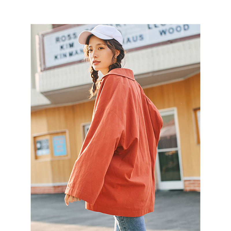INMAN Spring Autumn Turn Down Collar Loose Style One Button Women Short Jacket Coat