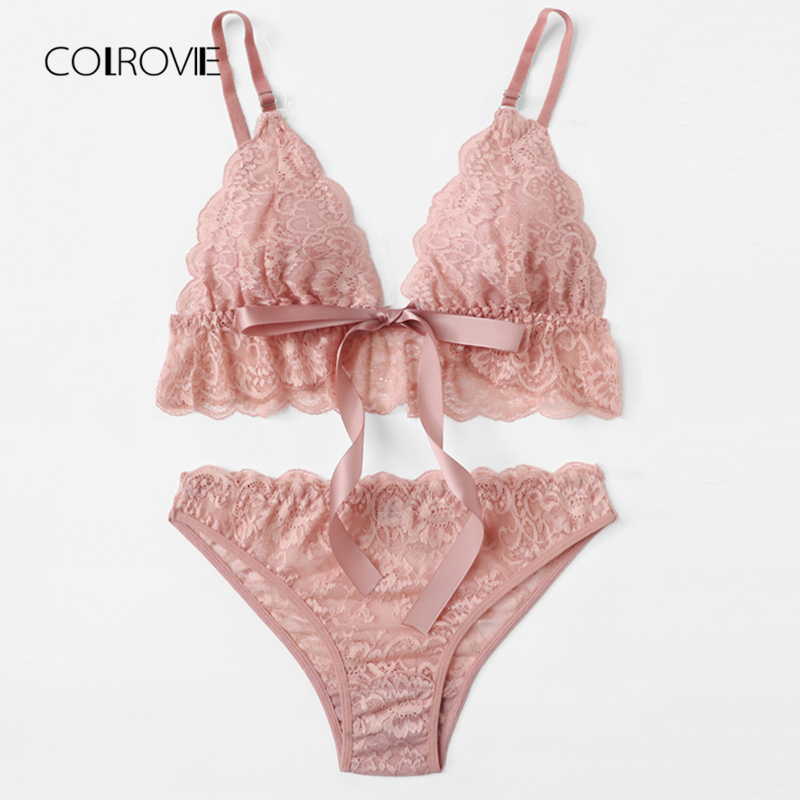 COLROVIE Pink Wireless Scalloped Trim Lace Lingerie   Set   Summer Bow Tie Sexy Women   Bra   And   Brief     Sets   loral Underwear   Set