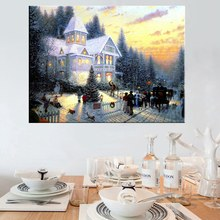 Fashion Gift Thomas Kinkade Painting Xmaws Eve Snow Streetscape Giclee Prints Canvas Nice Wall Art Picture for Living Room Decor все цены