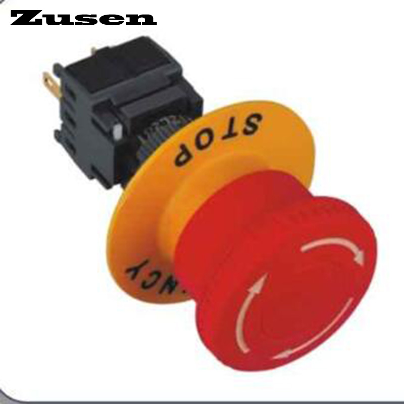 Zusen 16mm Plastic Emergency Stop switch 1NO1NC (LF16-11ZS) ac 600v 10a normal close plastic shell red sign emergency stop mushroom knob switch 22mm elevator emergency stop switch