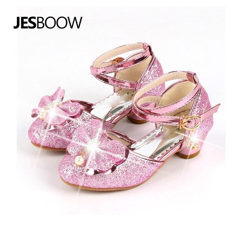 Girl Bow Pearl Crystal Shoes High Bang Girls Princess Wedding Party Flash Dance Shoes High Heels
