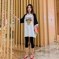 Костюм для беременных в Корейском стиле; свободная тонкая рубашка с v-образным вырезом и принтом с героями мультфильмов + брюки с подтягиваю...