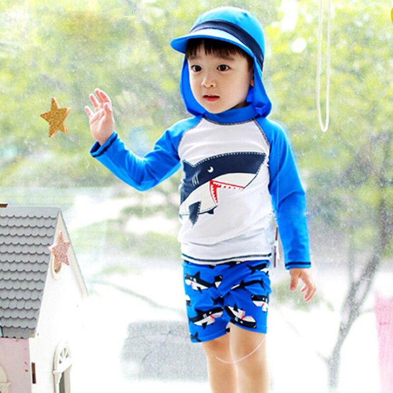 Two Piece Boys Swimwear Children Cute Shark Kids Swimsuit Sports Style Swim Beachwear Baby Swimming Bathing Suit Bodysuit Blue