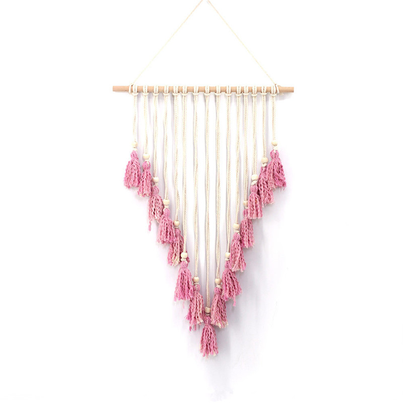 Bohemian pink tassel tapestry wall decoration Nordic craft home wedding pendant