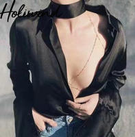 2019 Women Long Sleeves Satin Blouse With Chokers Faux Silk Shiny Shirts Streetwear Chic Blouse for Women