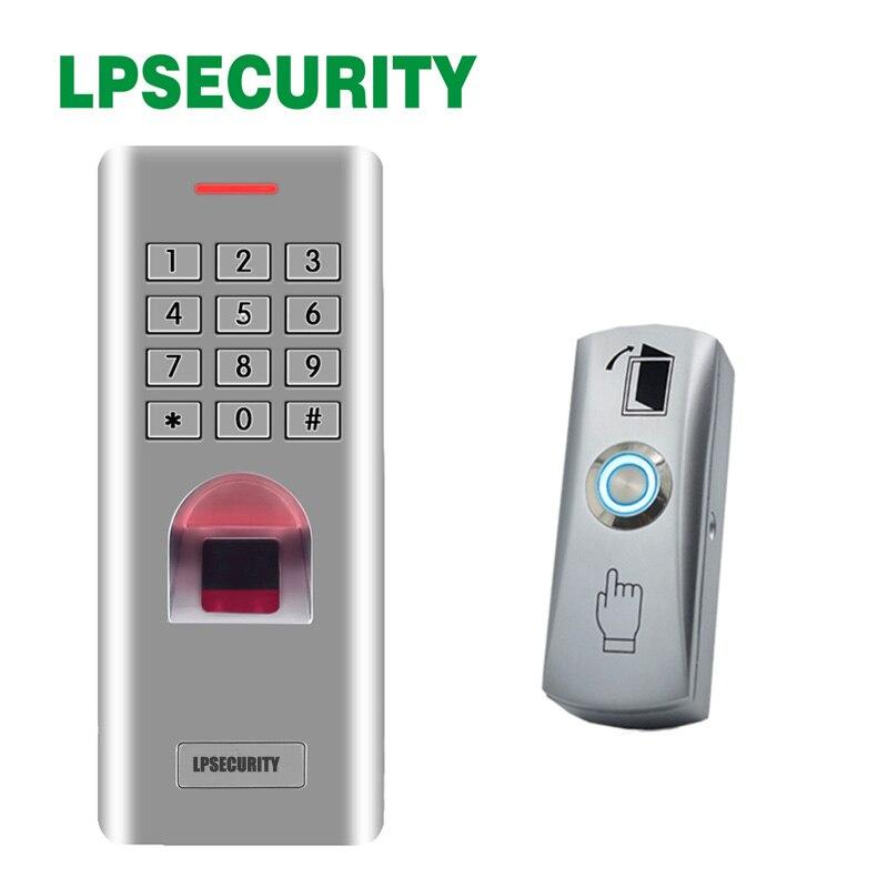 Avec lecteur de contrôle d'accès extérieur en métal fingeprint interrupteur de capteur de bouton de sortie de verrouillage de porte sans contrôle d'accès indicateur LED