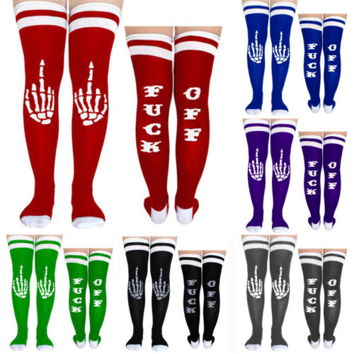 Fashion Women Unisex Funny Letter Stockings Casual Sports Cotton Knee Length Stockings