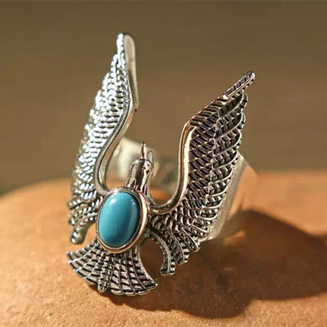 795f41f9b Vintage Solid Silver 925 Eagle Blue Turquoise Stone Rings Men Women Wide  Band Handmade Indian Style 925 Sterling Silver Jewelry