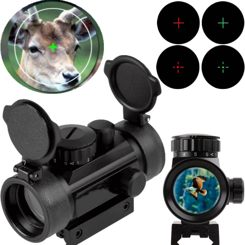 Tactical Holographic 1x40mm Red Green Dot Sight Airsoft Cross Hari Reflex Aiming Device Scope Riflescope 11mm 20mm Rail Mount
