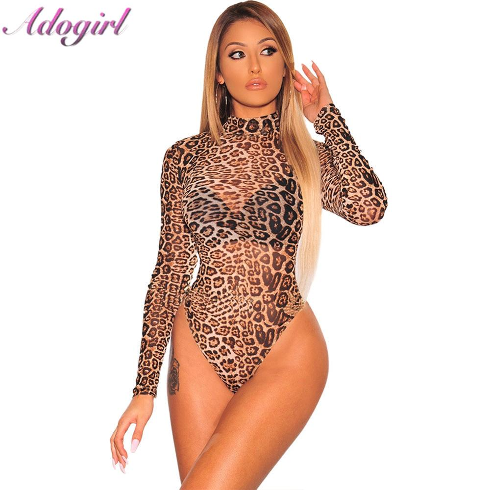 Adogirl Sexy Leopard Snake Print Sheer Mesh Bodysuit Woman casual Long Sleeve Turtleneck club jumpsuit lady tops outfits rompers