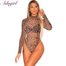 купить Adogirl Sexy Leopard Snake Print Sheer Mesh Bodysuit Woman casual Long Sleeve Turtleneck club jumpsuit lady tops outfits rompers дешево