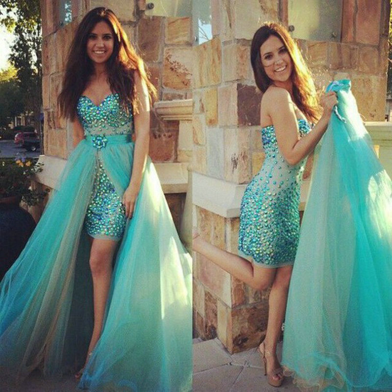Prom     Dresses   Removable Skirt With Rhinestones Two Piece   Prom   evening   Dress   sweetheart Formal   Dresses   2016 free shipping