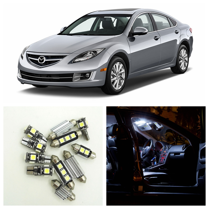 11pcs White Car LED Light Bulbs Interior Package Kit For 2009 2010 2011 2012 2013 Mazda 6 Map Dome Trunk License Plate Lamp car rear trunk security shield shade cargo cover for nissan qashqai 2008 2009 2010 2011 2012 2013 black beige