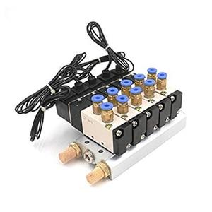 Image 4 - DC 12 V 24 V 5 Pneumatische Magneetventiel 4V110 06 Uitlaat 4mm 6mm 8mm 10mm 12mm Quick Fitting Base Set AC 110 v 220 v 4V110 06