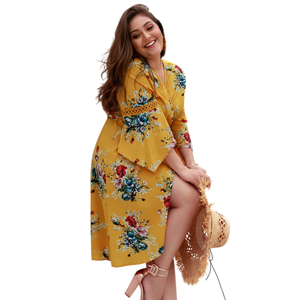 WHZHM Chiffon Full Flare Sleeve High Waist Loose Plus Size 3XL 4XL Dress Women Flower Casual Summer Deep V Neck Sashes Dress-in Dresses from Women's Clothing    3