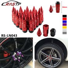 20 Pcs Car Styling Racing Composite Nuts Anti Theft Alloy Aluminum Lock Wheel Lug Nut With Spikes Red Blue Black Gold RS-LN043