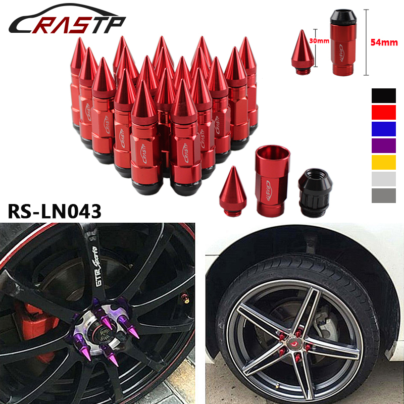 20 Pcs RASTP Racing Composite Nuts Anti Theft Alloy Aluminum Lock Wheel Lug Nut With Spikes Red Blue Black Gold RS-LN043 comfortable anti slip aluminum alloy motorcycle handle grips blue black silver 2 pcs