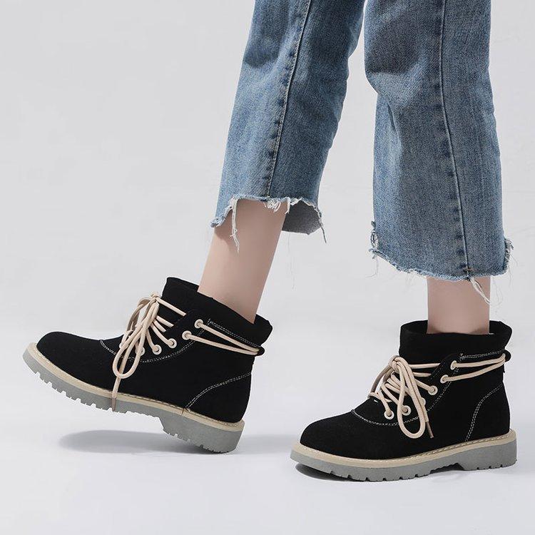 cdba4303b Plano Moda Sólido Tendencia Botas khaki Simple Nueva Otoño Zapatos 2018  Inferior Random Estilo Negro Martin Cómodo Salvaje Retro gift Color Mujer  ...