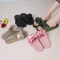 Lotus jolly silk bow slides women summer beach shoes woman no fur slippers flat heels flip.jpg 250x250