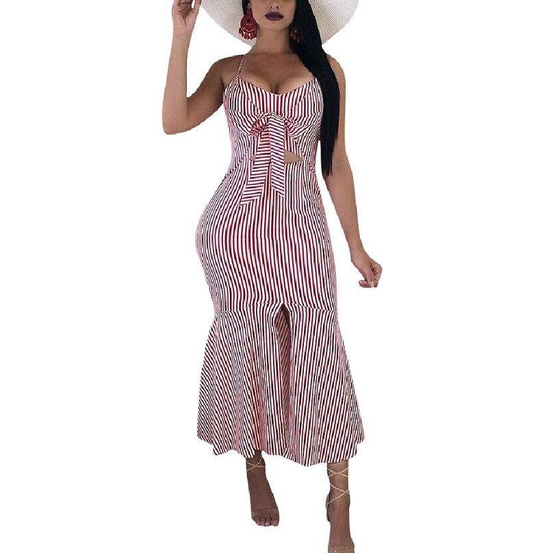 Polka Summer Dress Sling Striped Button Casual Summer Strap Dress Long Boho Beach Pockets Vestidos Elegant Daily Dess Female