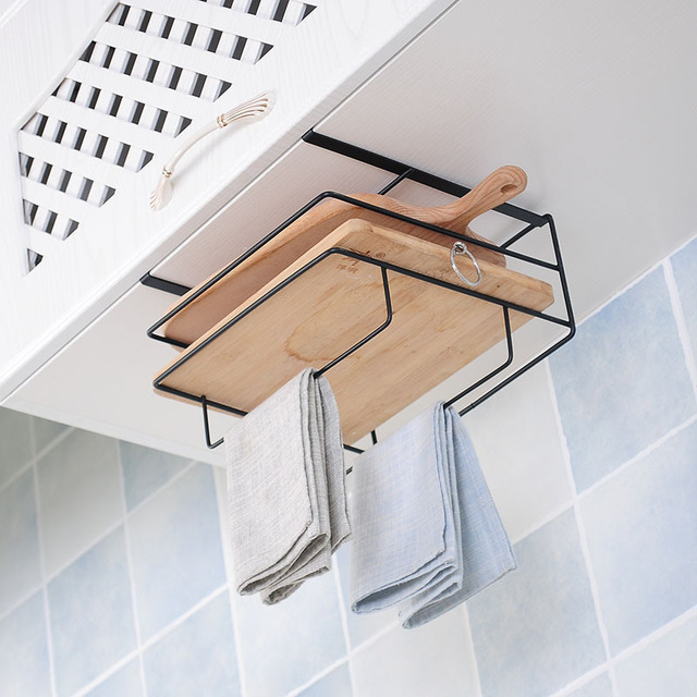 Kitchen Double Layer towel rack hanging holder Cabinets Shelf Chopping Board Storage Rack Hanger Shelf Kitchen Accessories