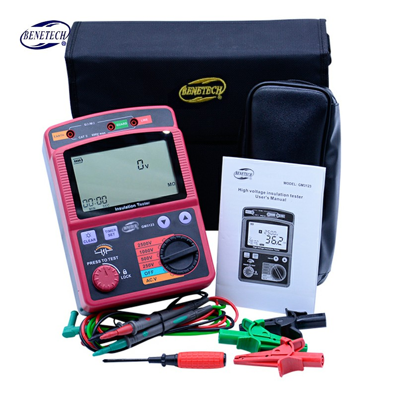 GM3123 2500V insulation resistance meter digital megohm-meter Ohm Meter high tension megger AC Voltage Insulation tester wholesale high voltage megger meter tester se ar907a